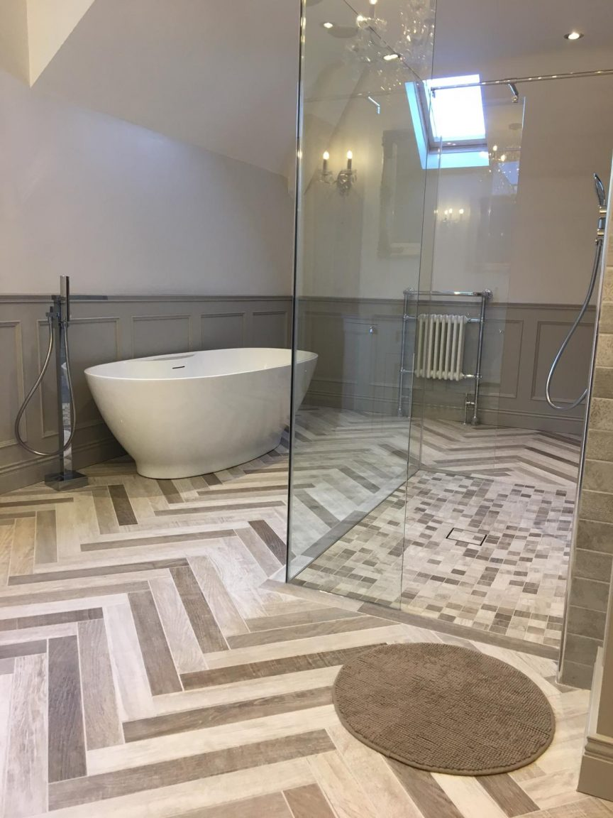 Traditional Bathroom Design and Wood effect tiles