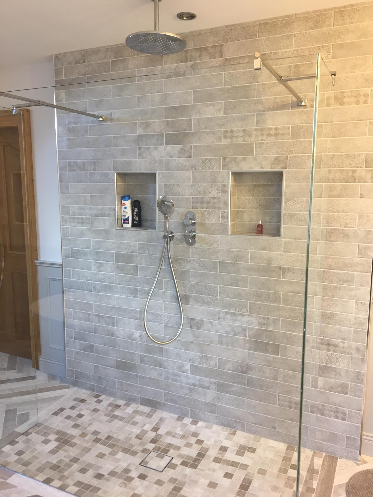 Traditional Bathroom with freestanding bath and Wood effect tiles